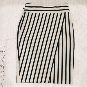 Ann Taylor Stripped Wrap Pencil Skirt
